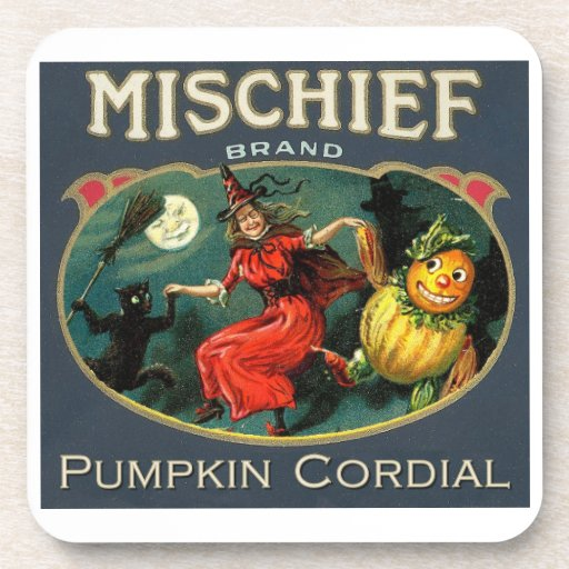 Halloween Witch and Pumpkin Vintage Label Coaster