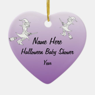 Halloween Witch Baby Shower Heart Ornaments
