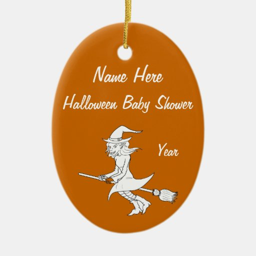 Halloween Witch Baby Shower Oval Ornaments