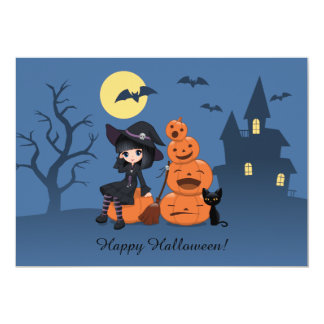 Halloween Witch, Black Cat, and Pumpkins Party 5x7 Paper Invitation Card
