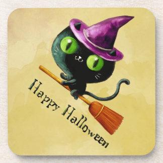 Halloween Witch Black Cat Drink Coaster