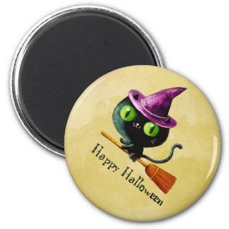 Halloween Witch Black Cat 6 Cm Round Magnet