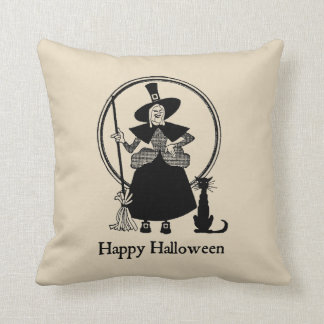 Halloween Witch & Black Cat Vintage Style Pillow