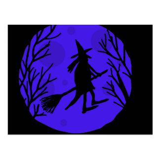 Halloween witch - blue postcard