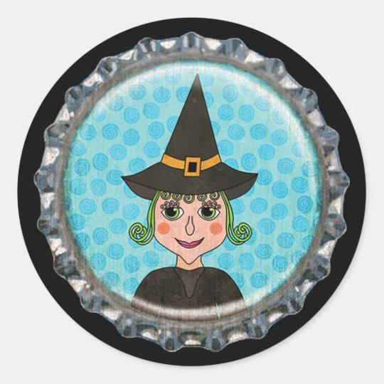 Halloween Witch Bottle Cap Classic Round Sticker