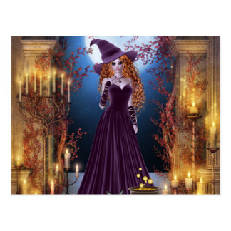 Halloween Witch by Candlelight Postcard