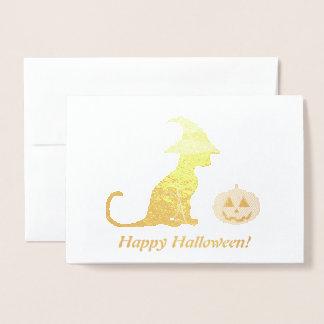 Halloween Witch Cat and Pumpkin Foil Card