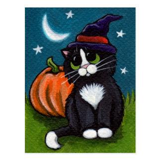 Halloween Witch Cat and Pumpkin Illustration Postcard