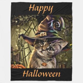 Halloween Witch Cat Fleece Blanket