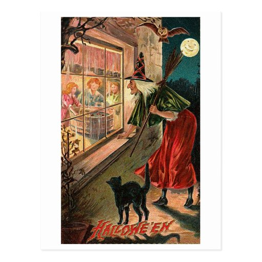 Halloween Witch, Cat Staring in Window Postcards