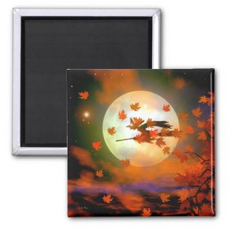 Halloween Witch Flight Square Magnet