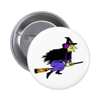 Halloween Witch Flying On A Broomstick Pinback Buttons