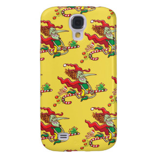 Halloween witch flying on a Christmas candy cane Galaxy S4 Cover