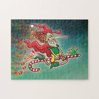 Halloween witch flying on a Christmas candy cane Jigsaw Puzzle