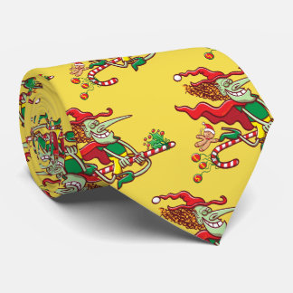 Halloween witch flying on a Christmas candy cane Tie