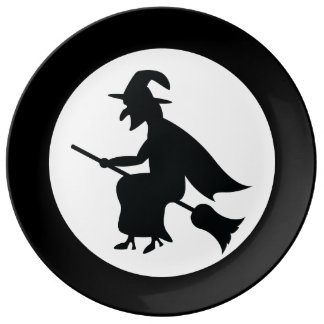 Halloween Witch Flying On Broom Silhouette Plate