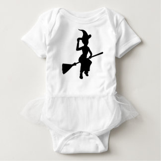 Halloween Witch Flying On Broomstick Silhouette Baby Bodysuit