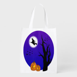 Halloween Witch Flying Through The Trees Reusable Grocery Bag