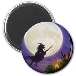 Halloween Witch Full Moon 6 Cm Round Magnet