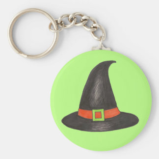 Halloween Witch Hat Trick or Treat Green Black Key Ring