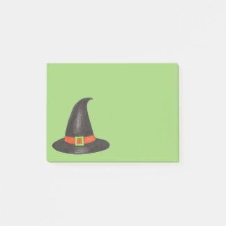 Halloween Witch Hat Trick or Treat Green Black Post-it Notes
