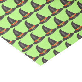 Halloween Witch Hat Trick or Treat Green Black Tissue Paper