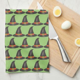 Halloween Witch Hat Trick or Treat Green Print Tea Towel