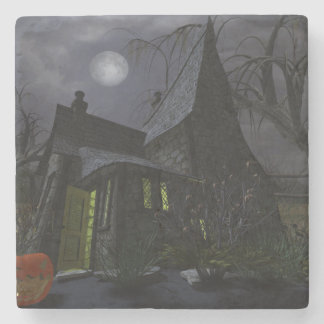Halloween Witch House Stone Beverage Coaster