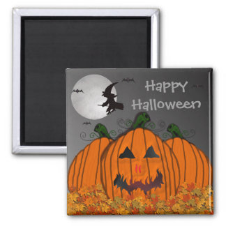 Halloween Witch in Flight Square Magnet
