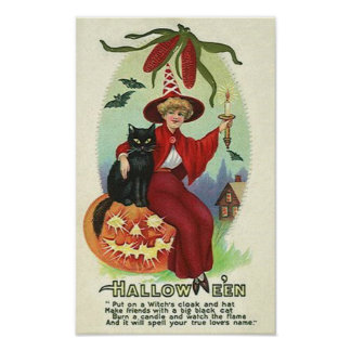 Halloween Witch in Red Cape Posters