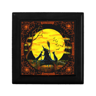 Halloween witch jewellery box small square gift box