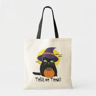 Halloween Witch Kitty Tote Bag