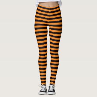 Halloween witch leggings with orange black stripes