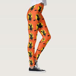 Halloween Witch Leggings Womens Orange Yoga Pants