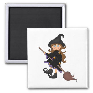 Halloween witch square magnet