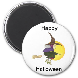 Halloween Witch 6 Cm Round Magnet