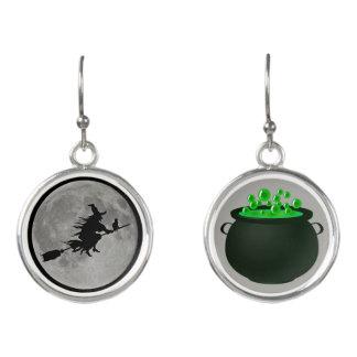 Halloween Witch Moon Caldron Fun Earrings Jewelry