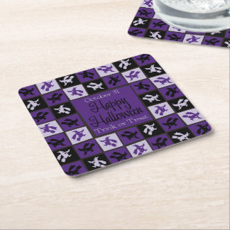 Halloween witch mosaic square paper coaster