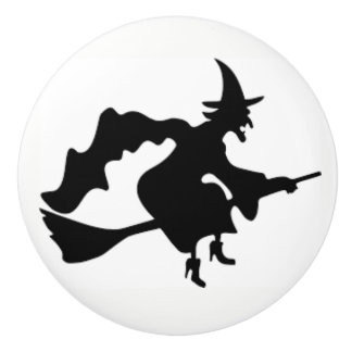 Halloween Witch on a ceramic door knob and pulls