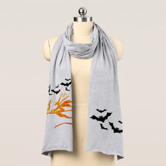 Halloween Witch On Broom Cat With Bats Scarf