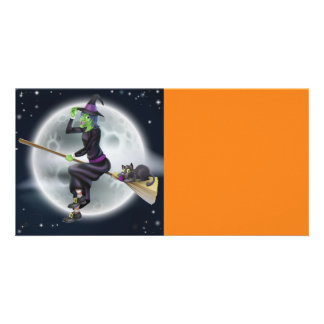 Halloween Witch on broom with cat Photo Cards