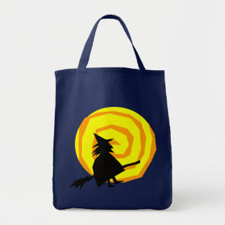 Halloween Witch on Broomstick Canvas Tote Grocery Tote Bag