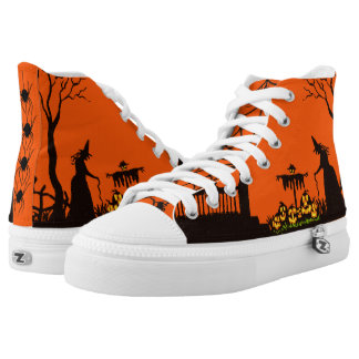 Halloween witch orange and black sneakers