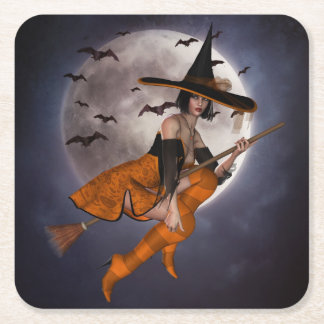 Halloween Witch Paper Coaster Square Paper Coaster