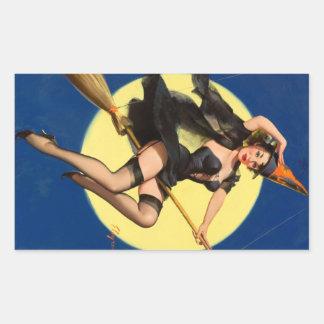 Halloween Witch Pin Up Girl Rectangular Sticker