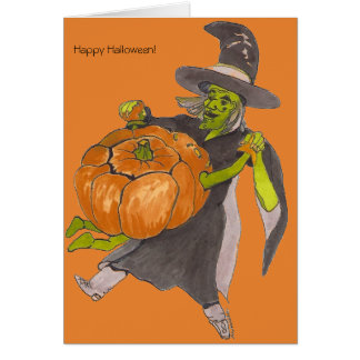 Halloween Witch Pumpkin Dance Color Designed Card