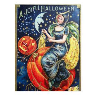 Halloween witch pumpkin Vintage fun postcard