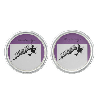 Halloween Witch Riding Broom Thunder_Cove Cufflinks