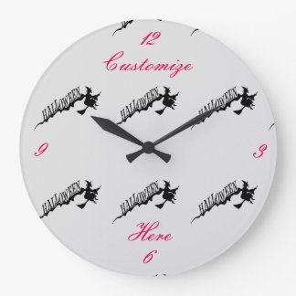 Halloween Witch Riding Broom Thunder_Cove Large Clock