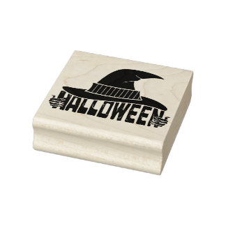 Halloween witch rubber stamp
